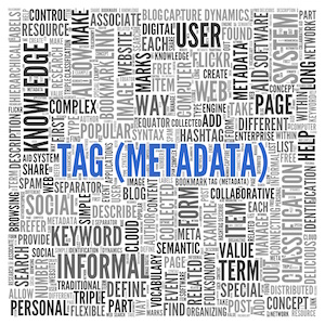 Blue Tag Metadata Texts with Other Related Keywords in Word Tag Cloud Design for Web Concepts.